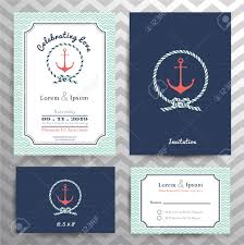 Invitation With Rsvp Card Nautical Wedding Invitation And Rsvp Card Template Set In Anchor