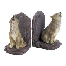 wildlife home decor howling wolf bookends rustic americana wolves wildlife animals