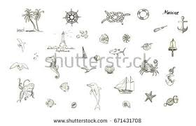 marine topic hand drawn elements sea stock vector 670910680