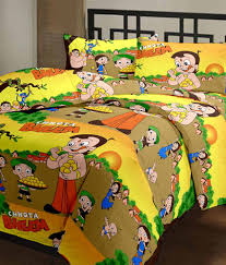 Cotton Single Bed Sheets Online India Rj Products Multicolor Cotton Chhota Bheem Cartoon Printed Double