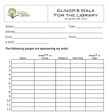 Pledge Sheets For Fundraising Template by Elinor S Walk Library 5k Walkathon Roeliff Jansen Community