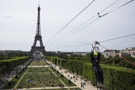 you can now zip line off the eiffel tower with le perrier smash