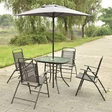 Patio Furniture Set With Umbrella 6 Pcs Patio Folding Furniture Set With Umbrella Outdoor