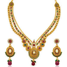 wedding gold sets buy fancy gold plated three string necklace set for women online