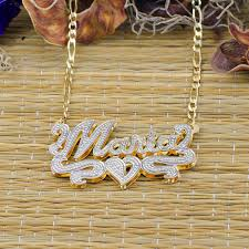plated name necklace plate rhodium beaded name necklace