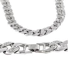 link necklace silver images 30 quot iced out silver cuban chain cuban chains jpg