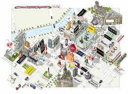 New York And Boston Map by Katherine Baxter Illustrated Maps Illustrated Maps Of New York