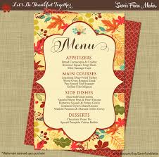 Elegant Dinner Party Menu Thanksgiving Dinner Party Menu Fall Autumn Dinner Party