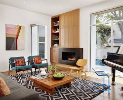 Midcentury Modern Living Room - mid century modern living room with fireplace