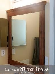 bathroom brown wooden frame lowes bathroom mirror for bathroom