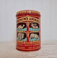 barnum u0027s circus animals vintage cookie tin canister animal