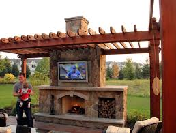 Outdoor Fireplace Rustic Outdoor Living Room Ground One