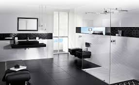 White Varnished Wooden Frame Gray Wall Black And White Bathroom - Bathroom designs black and white