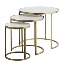 set of three end tables white marble round nesting tables set of three round nesting side