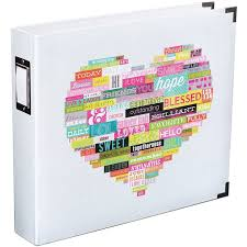 12x12 scrapbook albums becky higgins project heidi swapp heart printed white 12 x 12