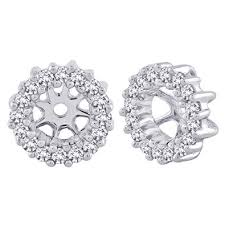 diamond earring jackets diamond earring jackets in 10k white gold 1 4 cttw