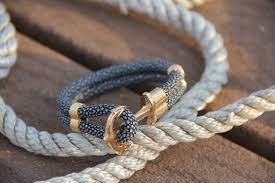 bracelet with anchor images Coal black stingray leather and gold anchor bracelet moniker house jpg