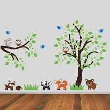 woodland animal wall stickers tree and branch with woodland animals wall sticker wall stickers