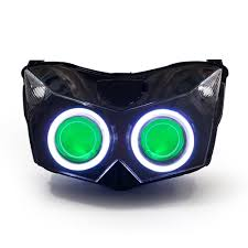 kt headlight for kawasaki z1000 2007 2009 led angel eye green