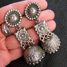 jhumka earrings silver jhumka earrings shaila