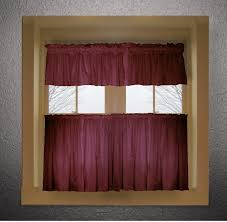 Wine Colored Curtains Burgundy Wine Color Tier Kitchen Curtain Two Panel Set