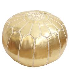 Gold Ottoman Gold Pouf Moroccan Ottoman Footstool Gold Vegan Faux Leather