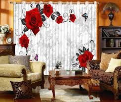 Red Home Decor Online Get Cheap Red Flower Curtains Aliexpress Com Alibaba Group