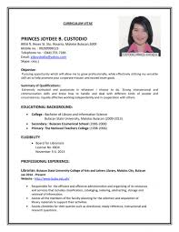resume template cover letter for job application philippines