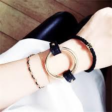 black leather love bracelet images Hot new 2016 fashion metal circle bangle statement black leather jpg
