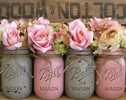jar flower centerpieces jar flowers etsy