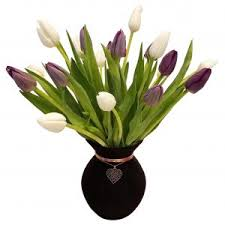 white tulips purple and white tulips with heart the flower shop
