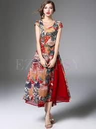 stylish floral print asymmetric patch split skater dress with
