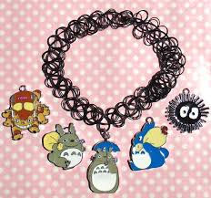 cute totoro soot sprite and catbus 90s black tattoo choker