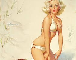 vintage pinup girl poster blonde in red stripe bikini retro
