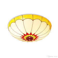2017 round yellow painted glass ceiling light fashion bedroom