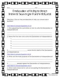 Declaration Of Independence Worksheet Answers Declaration Of Independence Scavenger Hunt Webquest Tpt