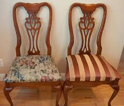 dining room chairs reupholstered musings of the dings step 1 remove original pads from chairs with screwdriver drill
