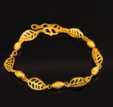 bracelet womens images Fashion 7 6 pure 24k yellow gold bracelet women 39 s leaf link jpg