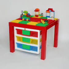 Duplo Table With 3 Storage Drawers High Gloss Red Table With Red