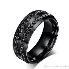 rings titanium black images 2016 fashion stainless steel jewelry black diamond rings korean jpg