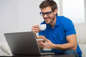 Man On Computer Meme - handsome young man working on computer laptop at home happy guy