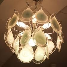 Art Glass Chandeliers Antique French Art Deco Opaline Green Glass Shades Four Light