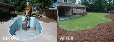 littleton co fiberglass pool removal enjoy more lawn and trees