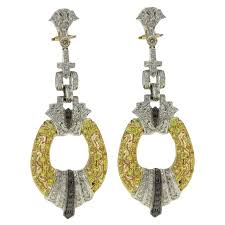 Beaded Chandelier Clip Earrings White Luise Black And White Diamond Sapphire White And Yellow Gold