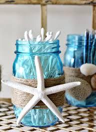 beachy bathrooms ideas themed blue jar qtip holder diy