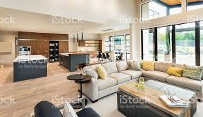 luxury home interior beautiful living room interior in new luxury home stock photo more