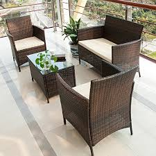 Patio Furniture Set Sale Rattan Garden Patio Conservatory 3 In 1 Footstool Bench Table With
