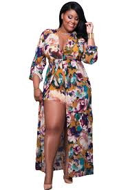 us 13 plus size sleeved floral romper maxi dress dropshipping