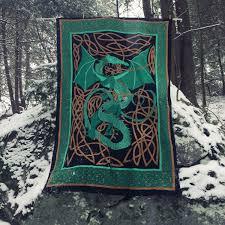 green dragon tapestry dragon banner green dragon flag dragon