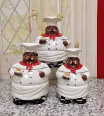 Chef Kitchen Decor Sets Kitchen Decor 3pc Chef Canister Set African American Guys Marcel